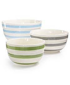 Pastel Stripe Ceramic Bowls, Set of 3, Created for Macy's