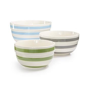 Martha Stewart Collection 3-Piece Pastel Stripe Ceramic Bowls