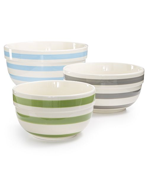 Martha Stewart Collection Pastel Stripe Ceramic Bowls, Set of 3, Created for Macy's