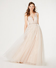 Say Yes to the Prom  Juniors' Rhinestone Appliqué Tulle Gown, Created for Macy's