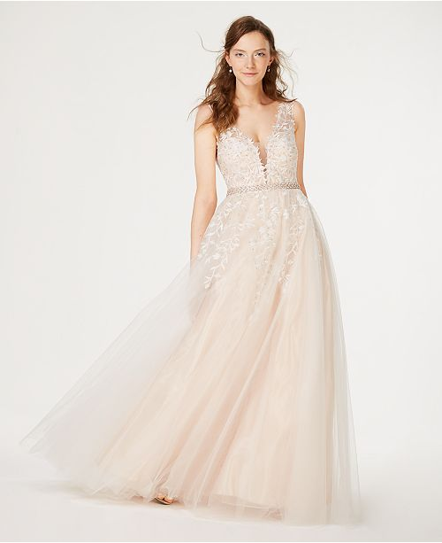 6fbeeacdeb6 ... Created for Macy s  Say Yes to the Prom Juniors  Rhinestone  Appliqu eacute  Tulle Gown