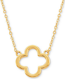 "Open Flower 17"" Pendant Necklace in 10k Gold"