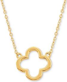 "Open Flower 17"" Pendant Necklace in 10k Gold"