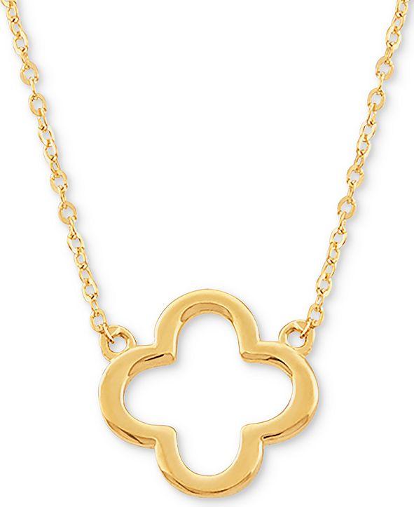 "Italian Gold Open Flower 17"" Pendant Necklace in 10k Gold"