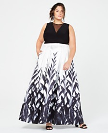 Morgan & Company Trendy Plus Size Illusion Printed Gown, Created for Macy's