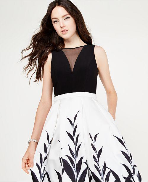 c08305f994fa Morgan & Company Juniors' Black & White Printed Gown, Created for ...