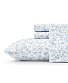 Laura Ashley Core Helena Lt/Pastel Blue Twin Flannel Sheet Set