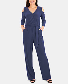 NY Collection Cold-Shoulder Jumpsuit