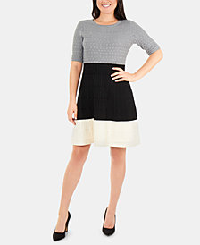 NY Collection Colorblocked Fit & Flare Sweater Dress