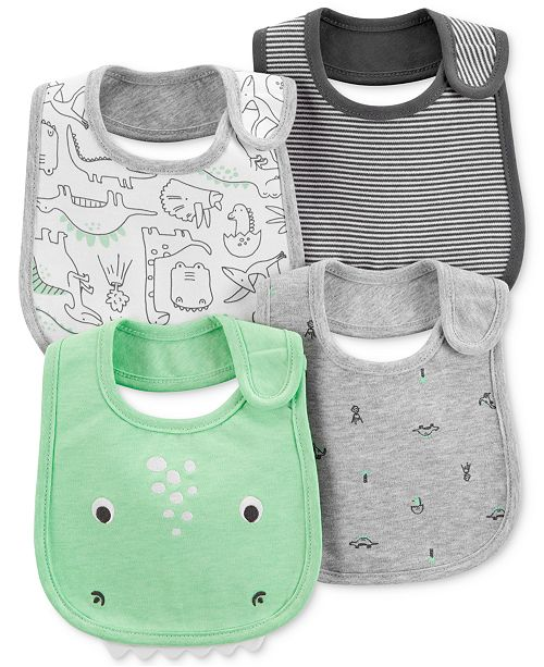 Carter's Baby Boys 4-Pack Dino-Print Bib Set