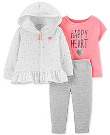 Carter's Baby Girls 3-Pc. Happy Heart T-Shirt, Hoodie & Pants Set