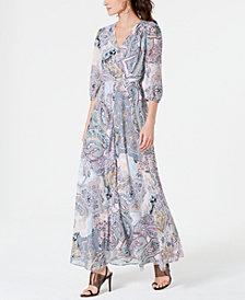 I.N.C. Woven Long-Sleeve Paisley Maxi Dress, Created for Macy's