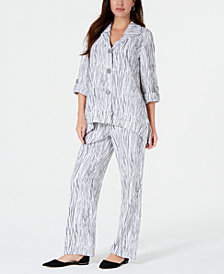 JM Collection Printed Crinkle Jacket & Drawstring Pants, Created for Macy's