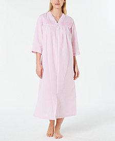 Miss Elaine Seersucker Long Zipper Robe