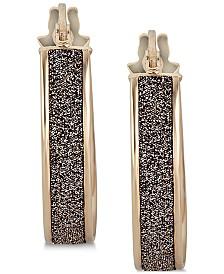 Chocolate Glitter Hoop Earrings in 14k Gold