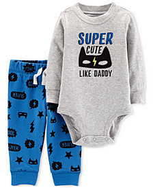 Carter's Baby Boys 2-Pc. Super Cute Cotton Bodysuit & Printed Pants Set