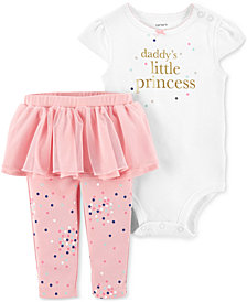 Carter's Baby Girls 2-Pc. Daddy's Princess Cotton Bodysuit & Tutu Leggings Set