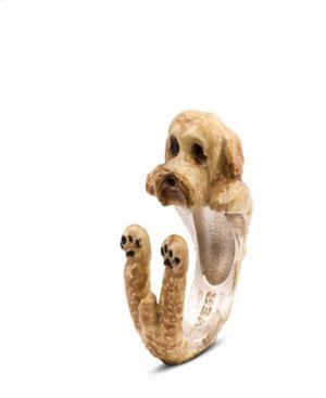 DOG FEVER Labradoodle Beige Hug Ring In Sterling Silver And Enamel in Brown