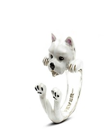West Highland White Terrier Hug Ring in Sterling Silver and Enamel