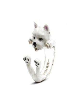 DOG FEVER West Highland White Terrier Hug Ring In Sterling Silver And Enamel