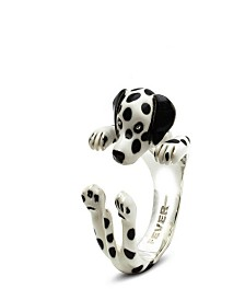 Dalmation Hug Ring in Sterling Silver and Enamel