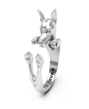 DOG FEVER Pinscher Hug Ring In Sterling Silver in Gray
