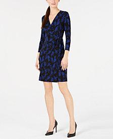 Anne Klein Printed Faux-Wrap Dress