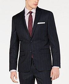 Blue Wide Pinstripe Modern-Fit Jacket