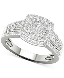 Diamond Cluster Ring (1/2 ct. t.w.) in Sterling Silver