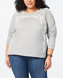 Lucky Brand Plus Size Cotton Appliquéd Sweatshirt