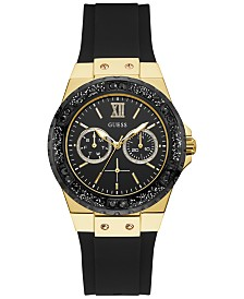 GUESS Women's Black Silicone Strap Watch 38mm