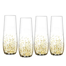 Luster Gold Set of 4 Stemless Flutes