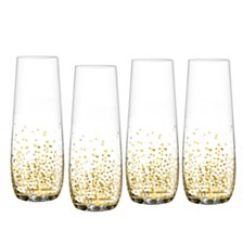 Jay Imports Luster Gold Set of 4 Stemless Flutes
