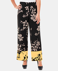NY Collection Petite Floral-Print Soft Pants
