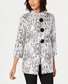 JM Collection Metallic Animal-Print Swing Jacket, Created for Macy's