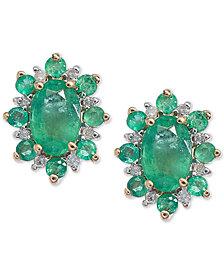 Emerald (1-1/4 ct. t.w.) & Diamond Accent Stud Earrings in 14k Gold