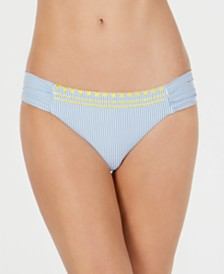 Lucky Brand Striped Embroidered Side-Shirred Hipster Bikini Bottoms
