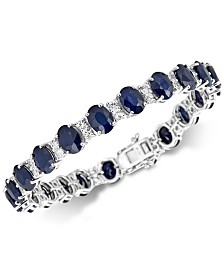 Sapphire (33 ct. t.w.) & White Topaz (4 ct. t.w.) Link Bracelet in Sterling Silver