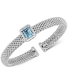 Blue Topaz Cuff Bangle Braclet (3 ct. t.w.) in Sterling Silver
