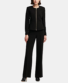 DKNY Zipper-Front Faux-Leather Jacket