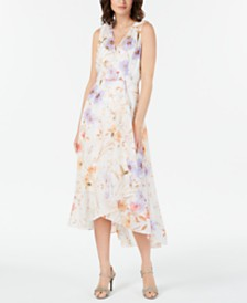 90c981fe7a7 Calvin Klein Floral-Print High-Low Wrap Maxi Dress