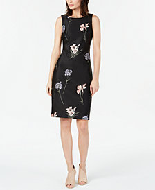 Calvin Klein Floral-Embroidered Sheath Dress