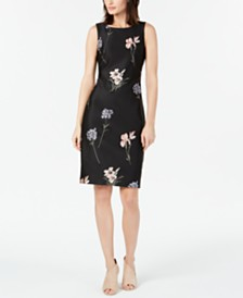Calvin Klein Floral-Embroidered Sheath Dress