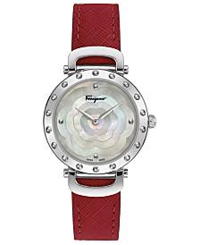 Ferragamo Women's Swiss Ferragamo Style Red Leather Strap Watch 34mm
