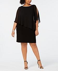 Plus Size Embellished Chiffon-Overlay Dress
