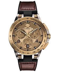 Men's Swiss Sport Tech Burgundy Leather & Black Rubber Strap Watch 45mm