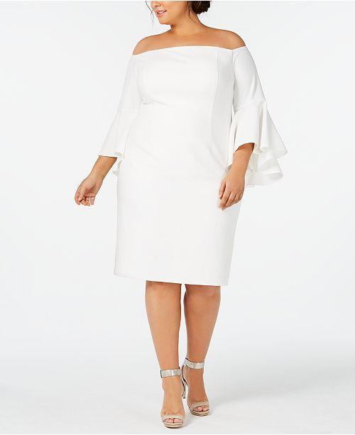 Calvin Klein Plus Size Off-The-Shoulder Crepe Dress
