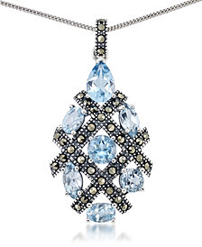 """Blue Topaz (5 ct. t.w.) Pendant & Marcasite on 18"""" Chain in Sterling Silver"""