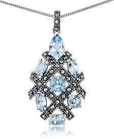 "Blue Topaz (5 ct. t.w.) Pendant & Marcasite on 18"" Chain in Sterling Silver"