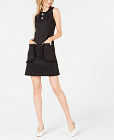 Betsey Johnson Sleeveless Floral Appliqué Shift Dress